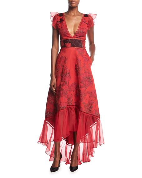 Marchesa Notte Metallic Brocade V-Neck High-Low Evening Gown