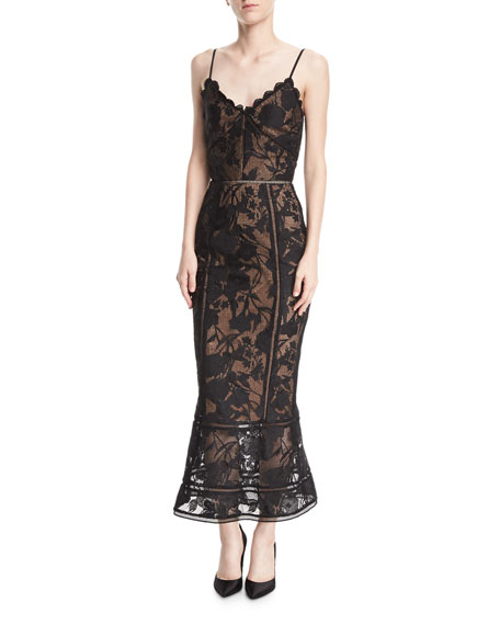 Marchesa Notte Guipure Lace Tea-Length Trumpet Cocktail Dress