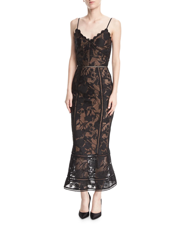 0b8feeb2b3 Marchesa Notte Guipure Lace Tea-Length Trumpet Cocktail Dress ...
