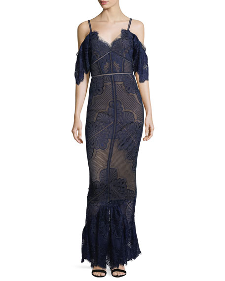 Marchesa Notte Cold-Shoulder Fitted Guipure Lace Evening Gown