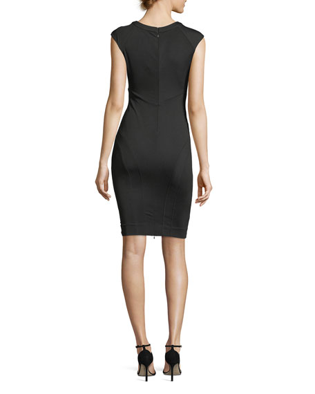 Joni V-Neck Cutout Cap-Sleeve Cocktail Dress