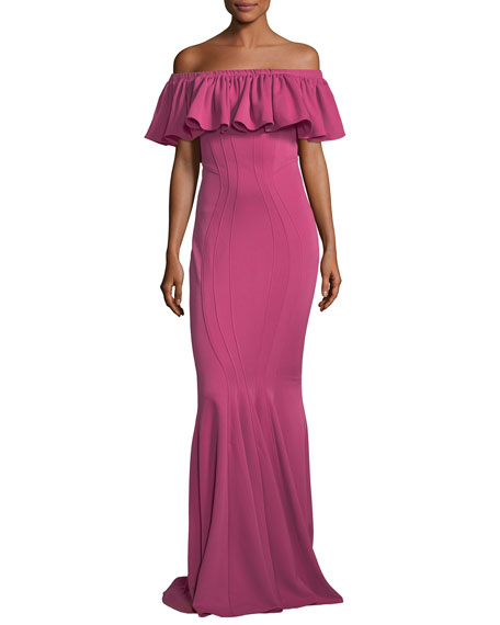 Crystal Off-the-Shoulder Pintuck Trumpet Evening Gown