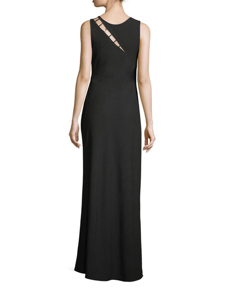 Sasha Sleeveless Strappy-Cutout Column Evening Gown