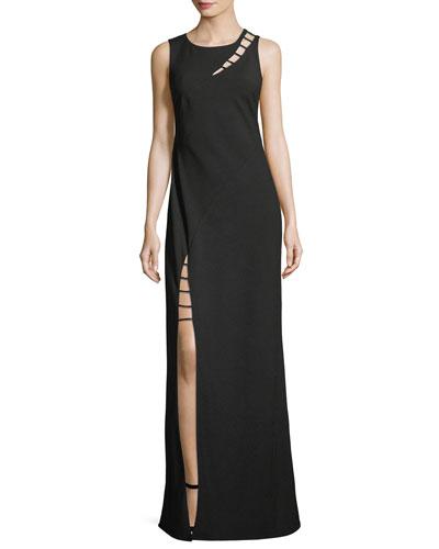 Sasha Sleeveless Strappy-Cutout Column Evening Gown