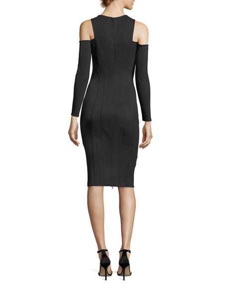 Mattie Jewel-Neck Cold-Shoulder Cocktail Dress