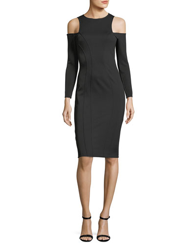 Mattie Jewel-Neck Cold-Shoulder Cocktail Dress