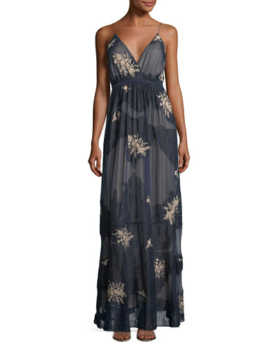 In The Cards Sleeveless Silk Lace Evening Gown