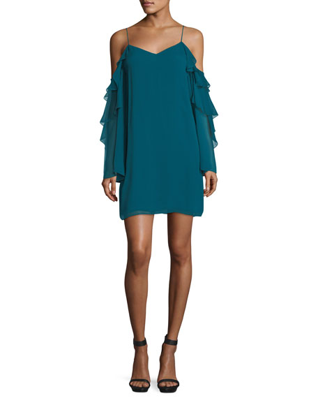 Finale V-Neck Cold-Shoulder Ruffled Chiffon Cocktail Dress