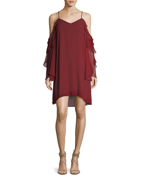 Haute Hippie Finale V-Neck Cold-Shoulder Ruffled Chiffon Cocktail