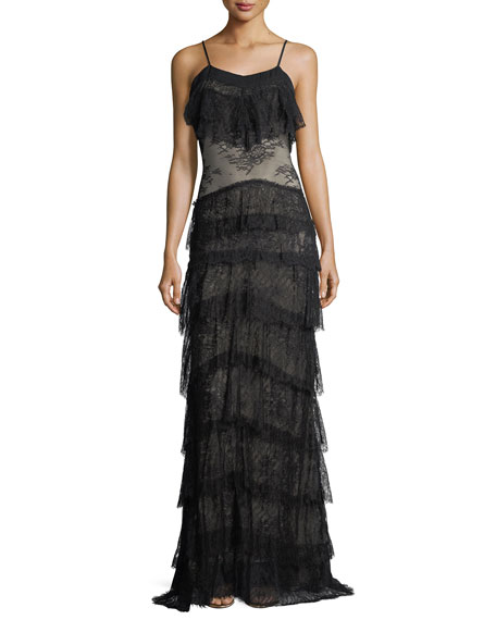 Tiered Lace V-Neck Sleeveless Column Evening Gown