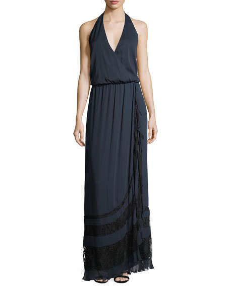 Haute Hippie Johnny Guitar Sleeveless Halter Evening Gown