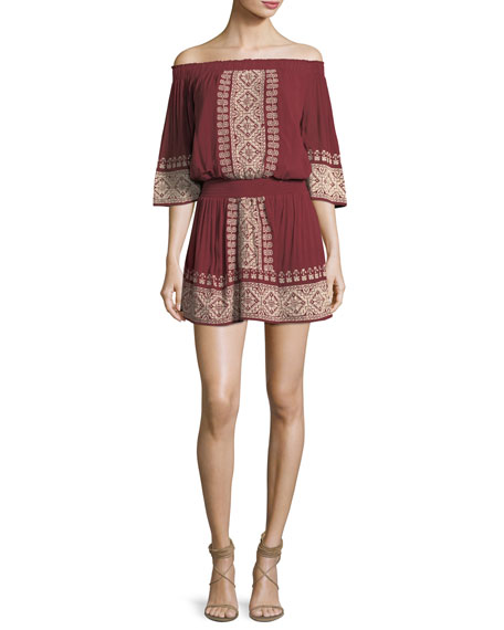 Fiona Off-the-Shoulder Embroidered Dress