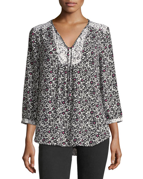 3/4-Sleeve Graphic Floral-Print Peasant Top