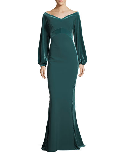 Marlo Off-the-Shoulder Trumpet Evening Gown w/ Velvet