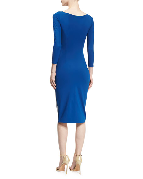 Malila Long-Sleeve Paneled Cocktail Dress w/ Faux Leather