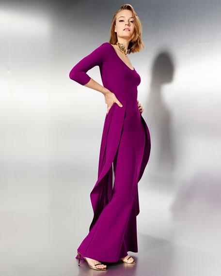 Lorelei V-Neck 3/4 Sleeves Evening Gown w/ Ruffled Overskirt