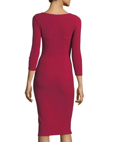 Kelcie Long-Sleeve Keyhole Wrap Cocktail Dress