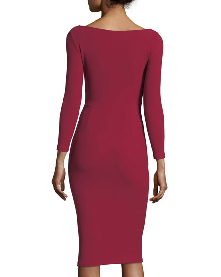 V-Neck Long-Sleeve Side Bow Crepe Cocktail Dress