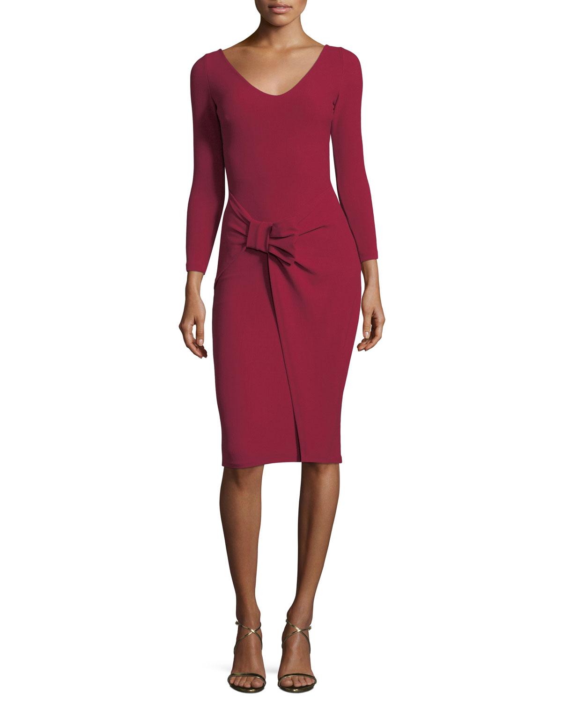 4774c52ff5cd Chiara Boni La Petite Robe V-Neck Long-Sleeve Side Bow Crepe Cocktail Dress