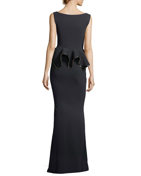 Evren Peplum Waist Evening Gown w/ Zipper Detail