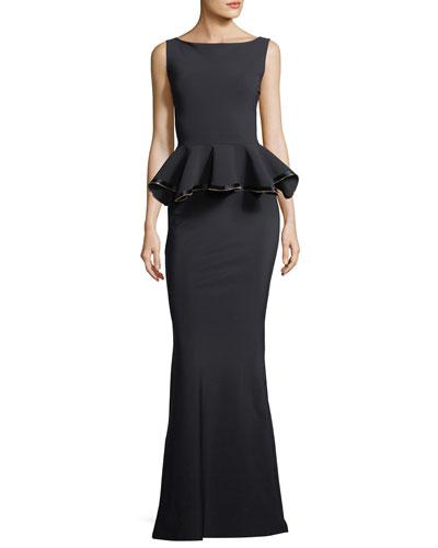 Evren Peplum Waist Evening Gown w/ Zipper Detail