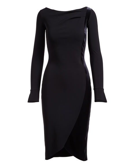 Maysa Long-Sleeves Boat-Neck Cocktail Dress w/ Velvet