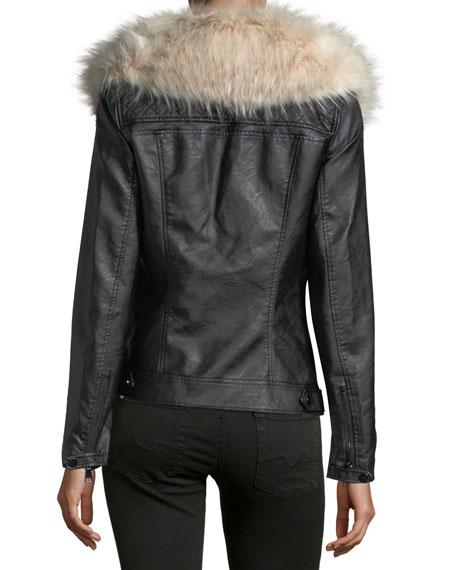 Faux-Leather Jacket w/ Faux-Fur Trim