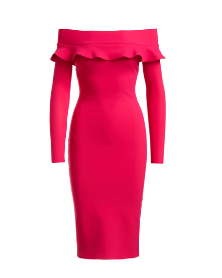 Samilie Ruffled Off-the-Shoulder Jersey Cocktail Dress