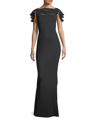 Stana High-Neck Fitted Evening Gown