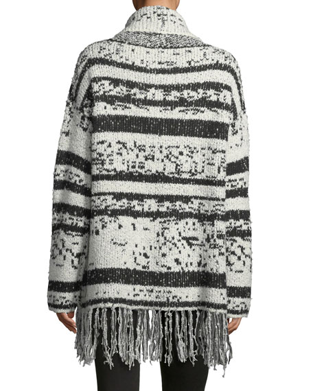 Fringed-Trim Cowl-Neck Sweater