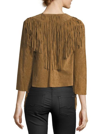 Fringed-Trim Cropped Suede Jacket