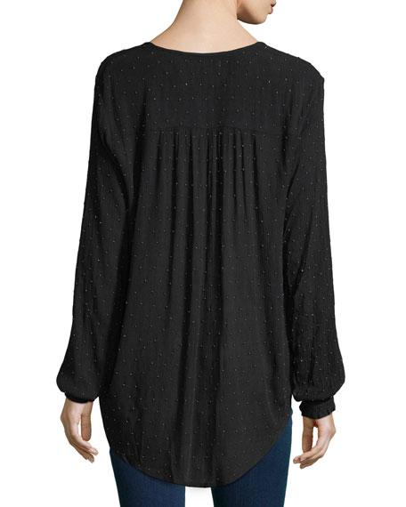 Embellished Drape-Front Blouse