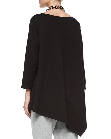 Solid Asymmetric Long Tunic, Plus Size