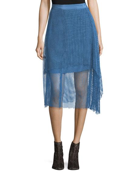 Draped Lace A-Line Midi Skirt