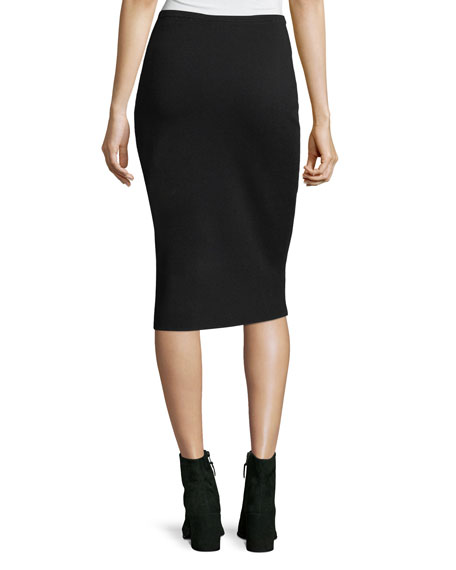 Mid-Rise Knit Pencil Skirt