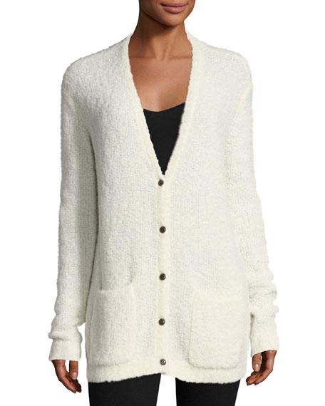 Alpaca V-Neck Button-Front Cardigan Sweater