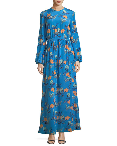 Long-Sleeve Crewneck Floor-length Silk Dress