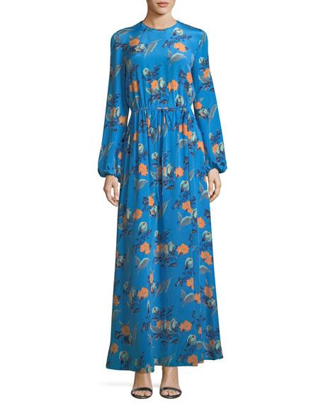 Diane von Furstenberg Long-Sleeve Crewneck Floor-length Silk