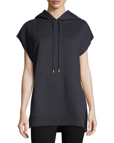 Brushed Flannel Sleeveless Hooded Sweatshirt