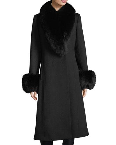 Fur Shawl & Cuff Long Top Coat