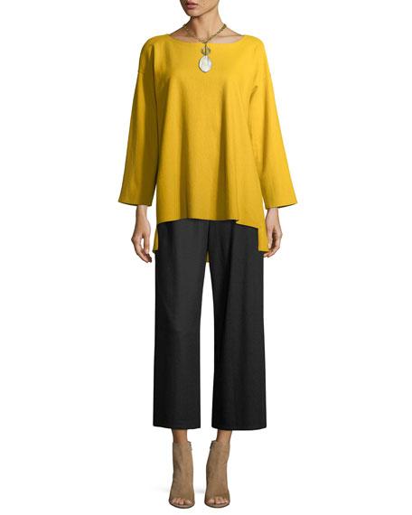 Boiled Wool Jersey Wide-Leg Cropped Pants