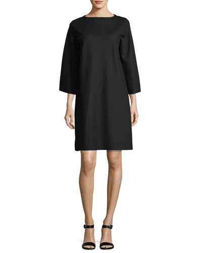 Easy Bell-Sleeve Boiled Wool Jersey Shift Dress