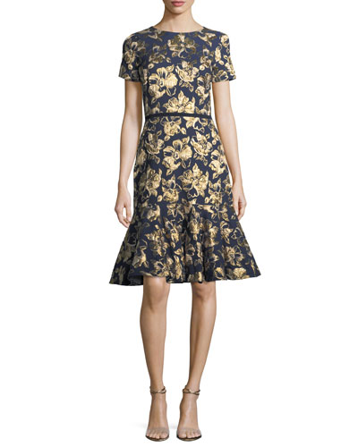Florin Short-Sleeve Brocade Mermaid Cocktail Dress