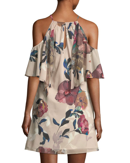 Seraphima Cold-Shoulder Floral-Print Shift Dress