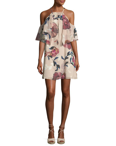 Seraphima Cold-Shoulder Floral-Print Shift Dress
