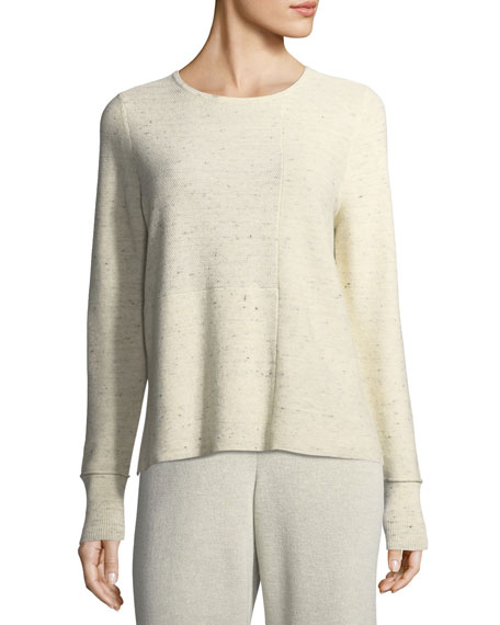 Eileen Fisher Peppered Organic Cotton/Wool Knit Top, Plus