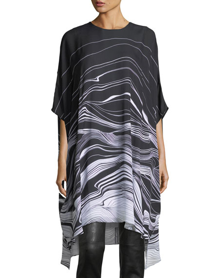 St. John Collection Brush Stroke Print Satin Dress