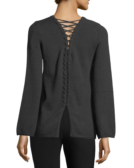 Lace-Up-Back Sweater
