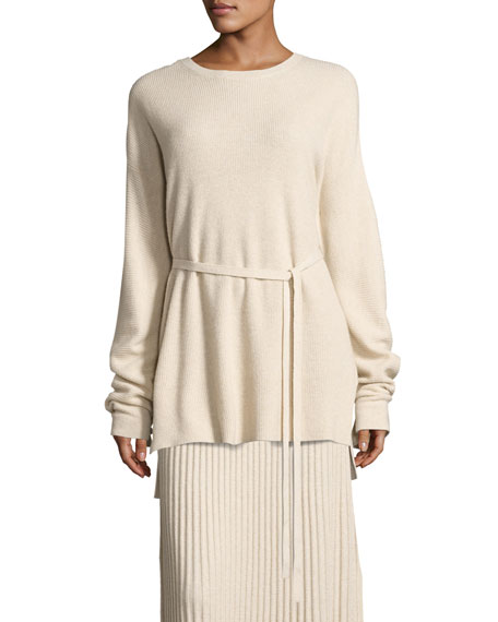 Elizabeth and James Gisella Slouchy Rib-Knit Crewneck Belted