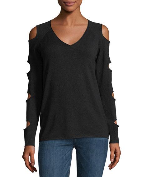 V-Neck Cold-Shoulder Sweater